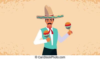 jouer, mexique, célébration, animation, maracas, mariachi