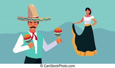 jouer, mexique, célébration, danse, animation, femme, ...