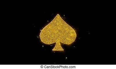 jouer, noir, arrière-plan., piques, carte, icône,...