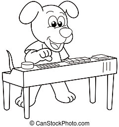 jouer, orgue, électronique, dessin animé, chien