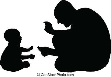 jouer, père, fils bébé, sien