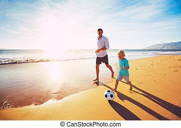 jouer, père, fils, football