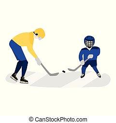 jouer, père, hockey, ensemble, fils