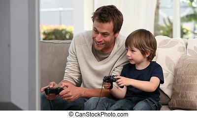 jouer, père, sien, garçon