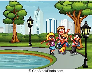 jouer, parc, dessin animé, enfants