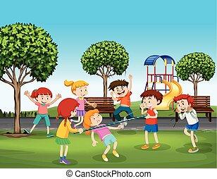 jouer, parc, filles, garçons
