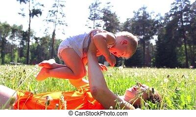 jouer, parc, pré, maman, enfant