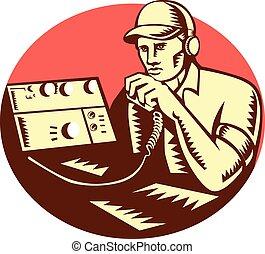 jouer pied radio, opérateur, cercle, woodcut