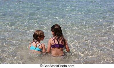 jouer, plage, peu, rivage, filles