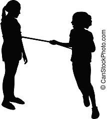 jouer, vecteur, enfants, corde, silhoette