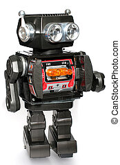 jouet, étain, robot, vieux