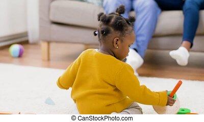 jouet, africaine, maison, blocs, jouer, bébé