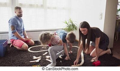 jouet, aide, leur, parents, construire, chemin fer, enfants