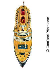 jouet antique, isolé, bateau croisière, blanc