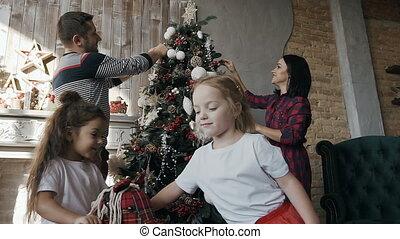 jouet, arbre, cavalcade, jeune, noël, close-up., leur, ...