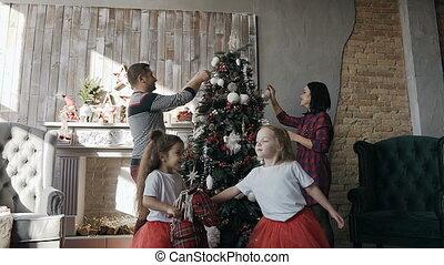 jouet, arbre, cavalcade, jeune, noël, leur, jumeau, parents...