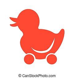 jouet bébé, silhouette, icône