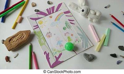 jouet, balle, enfants, 2, par, rouler, dessin