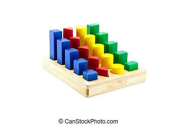 B timent jouet bois sur blocs briques multicolore for Bloc construction bois