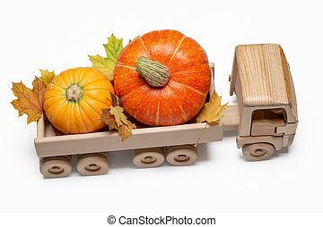 jouet bois, récolte, voiture., automne