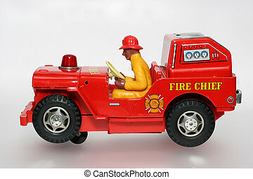 jouet, brûler, chef, voiture