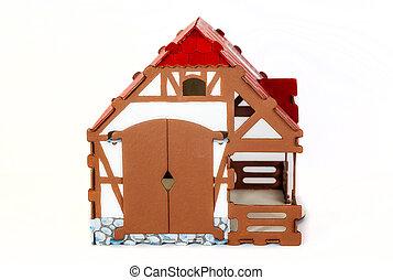 jouet, carton, maison