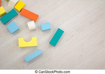 jouet, coloré, bois, dispersé, briques, tas