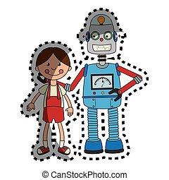 jouet, coloré, poupée, autocollant, robot, ensemble