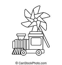 jouet, conception, pinwheel, vecteur, train, isolé