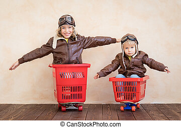 jouet, conduite, voiture, maison, enfants, heureux