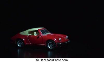 jouet, couleur, voiture, influence, effet, sombre, faisceau, sous, rouges