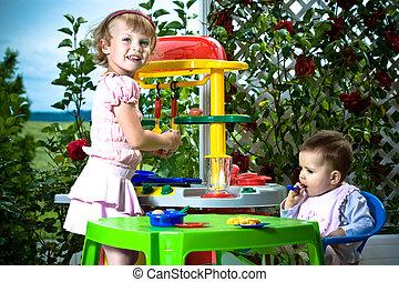 jouet, cuisine, gosses