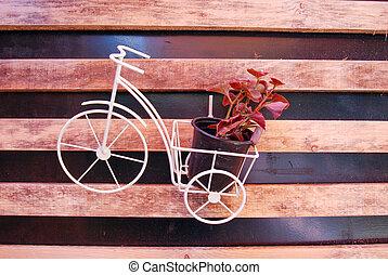 jouet, décoration, decoration., floral, vélo, panier