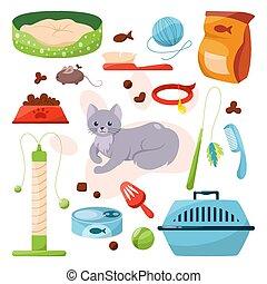 jouet, différent, marchandises, chouchou, magasin, nourriture, cats., ensemble