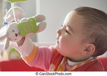 jouet, elle, mobile, jouer, dorlotez fille, musical