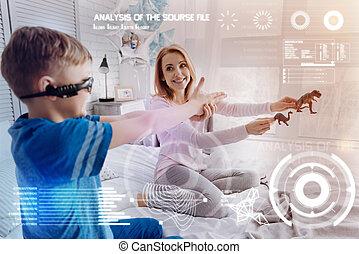 jouet, elle, positif, mère, réalité virtuelle, dinosaures, quoique, enfant avoirs, jouer
