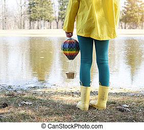 jouet, enfant, dehors, parc, balloon