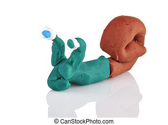jouet enfants, moulé, depuis, argile, -, escargot