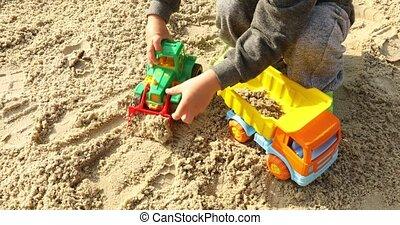 jouet, excavatorin, sable, travaux, jouer, raod, gosse