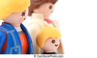 jouet, famille, tourner, localisé, devant, stand, vue