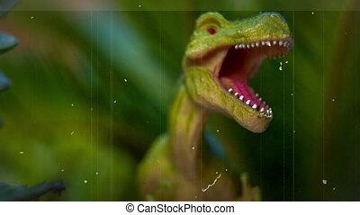 jouet, feuillage, dinosaure, vert