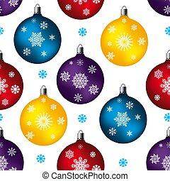 jouet, fur-tree, fête, flocons neige, seamless, modèle, balles, fond, blanc