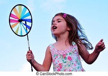 jouet, girl, jeu, peu, éolienne, pinwheel