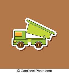 jouet, gosses, autocollant, papier, camion, fond, élégant