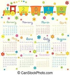 jouet, gosses, train, 2019, calendrier, fleurs
