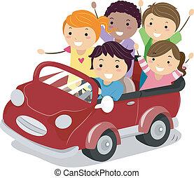jouet, gosses, voiture