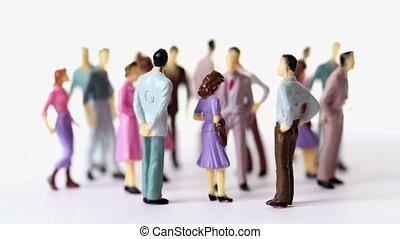 jouet, groupe, peint, hommes, stand, femmes, pell-mell