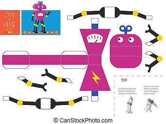 jouet, illustration, robot, colle, coupure, vecteur, worksheet.