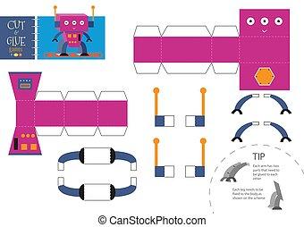 jouet, illustration., worksheet, métier, robot, papier, coupure, vecteur, colle, dessin animé