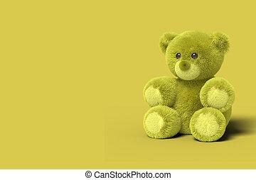 jouet, image., plancher, render., résumé, séance, business., ours, arrière-plan., concept, jaune, jouets, minimal, 3d